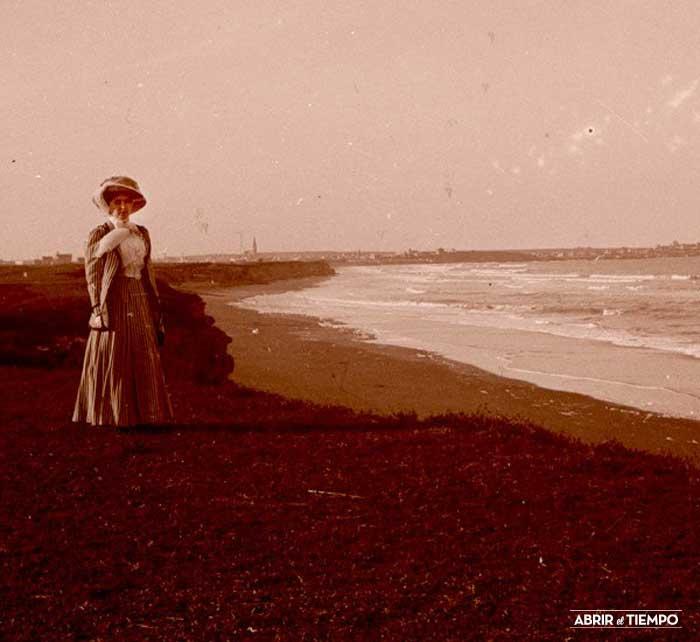 Negativo estereoscópico de Mar del Plata, 1909.